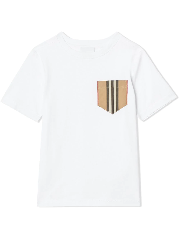 Burberry Kids' Icon Stripe Pocket Cotton T-shirt 3-14 Years In White