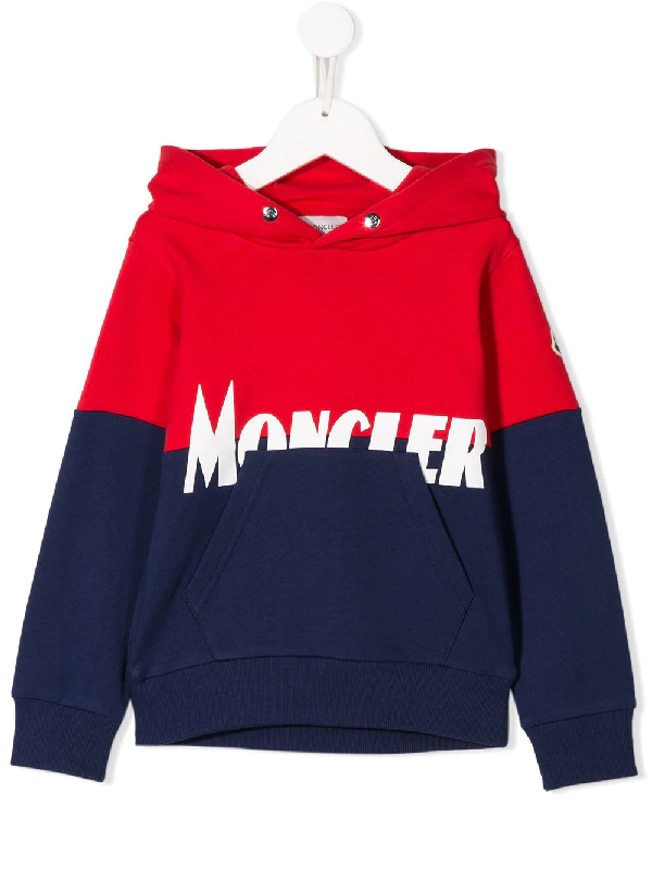 Moncler Kids Hoodie Maglia Con Cappuccio For Boys In Red