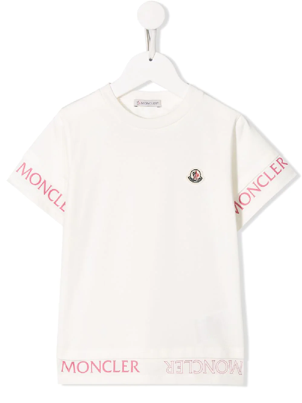 Moncler Kids Logo Stripe T-shirt (12-14 Years) In White