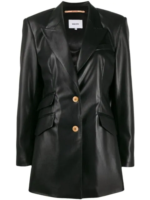 Nanushka Single-breasted Long Sleeve Blazer In Black