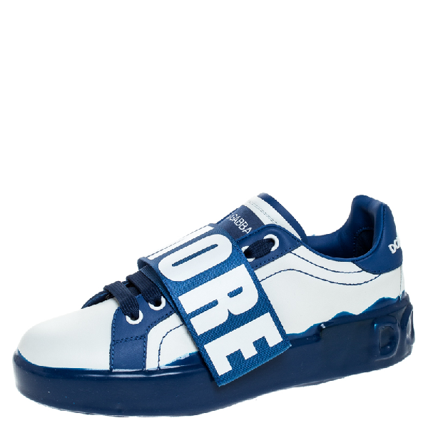 Dolce & Gabbana Blue/white Elastic Logo Leather Melt Portofino Sneakers Size 37