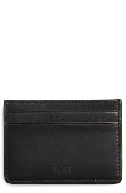 Hugo Boss Majestic Leather Money Clip Card Case - Black