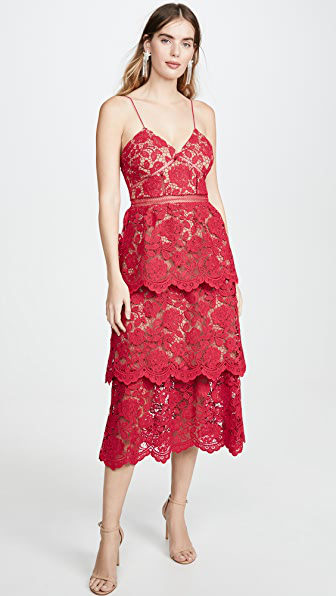 Self-portrait Floral Lace Tiered Cocktail Dress In 红色