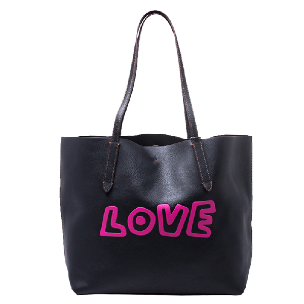 Coach Black Leather Keith Haring Love Shopper Tote
