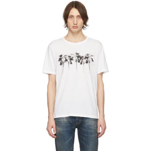 Saint Laurent Logo Palm Print Cotton Jersey T-shirt In White ,black