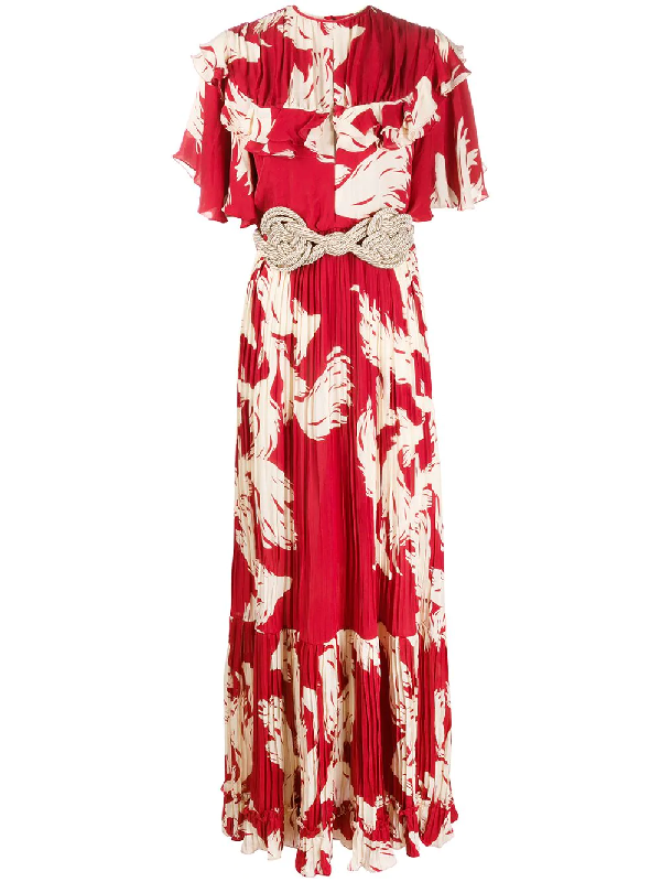Johanna Ortiz Musica Sagrada Ruffle Maxi Dress In Red