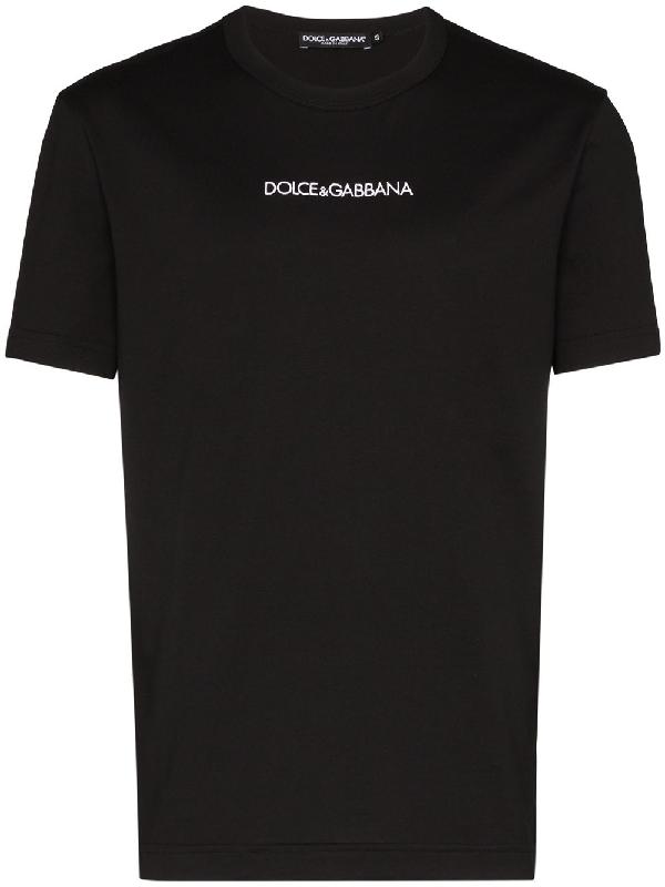 Dolce & Gabbana Black Slim Logo-embroidered Cotton T-shirt