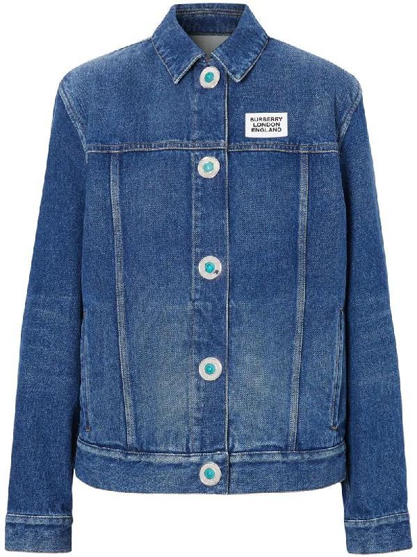 Burberry Logo Applique Reconstructed Denim Jacket In Blue