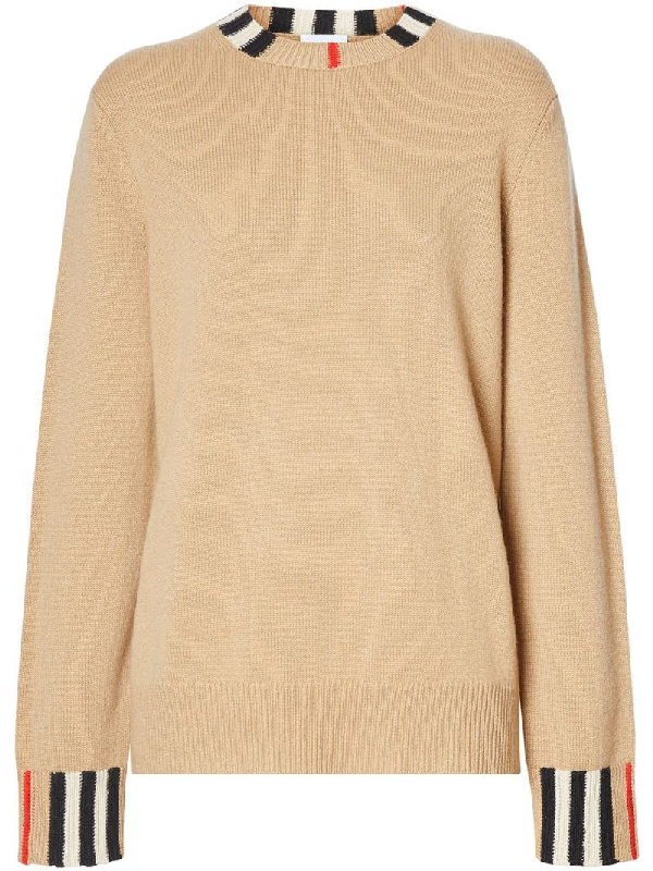 Burberry Eyre Icon-striped Cashmere Sweater In Light Brown