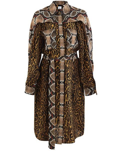 Burberry Costanza Cape Sleeve Leopard & Snake Print Silk Shirtdress In Brown