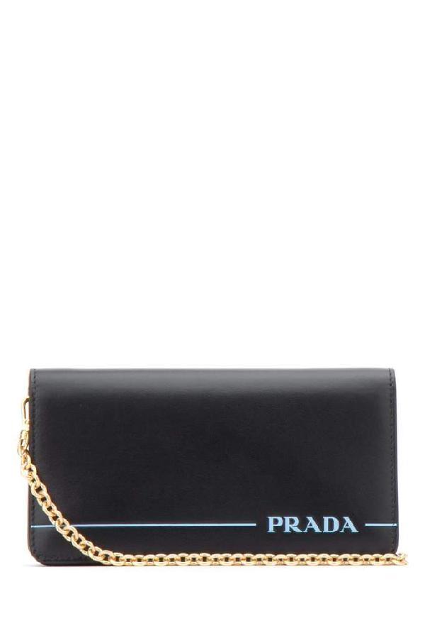 Prada Logo Chain Clutch Bag In Black