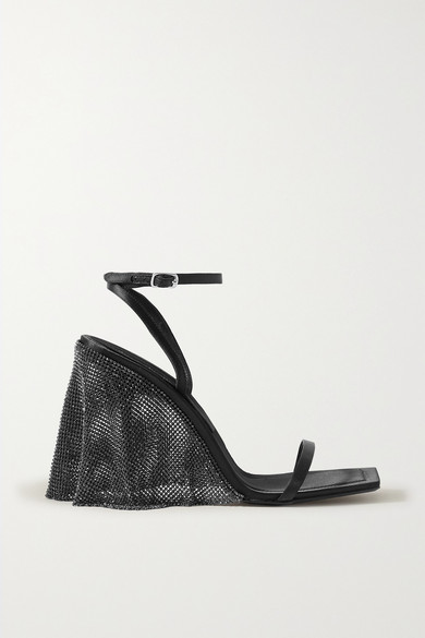 Alexander Wang Blake Crystal-embellished Chainmail-trimmed Satin Sandals In Black