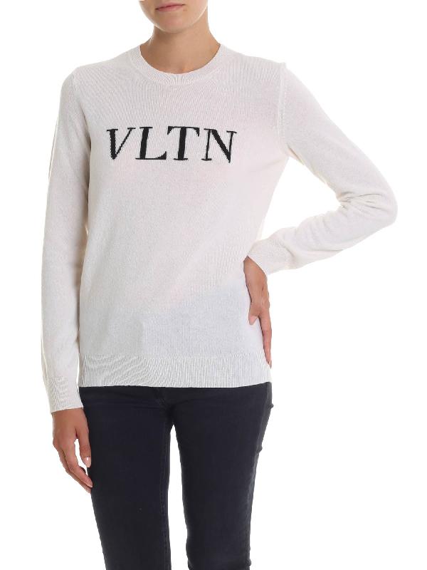 Valentino Vltn Cream-colored Pullover In White
