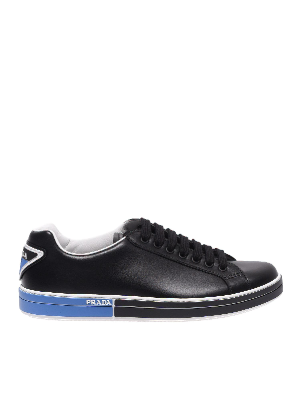 Prada Men's Shoes Leather Trainers Sneakers In Black
