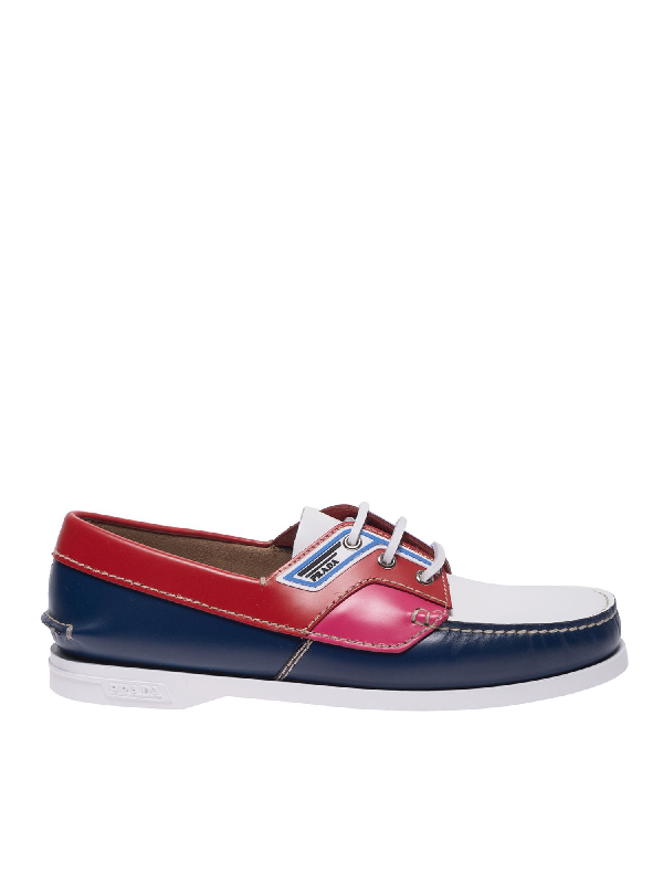 Prada Brushed Multicolor Leatherboat Shoes In Blue