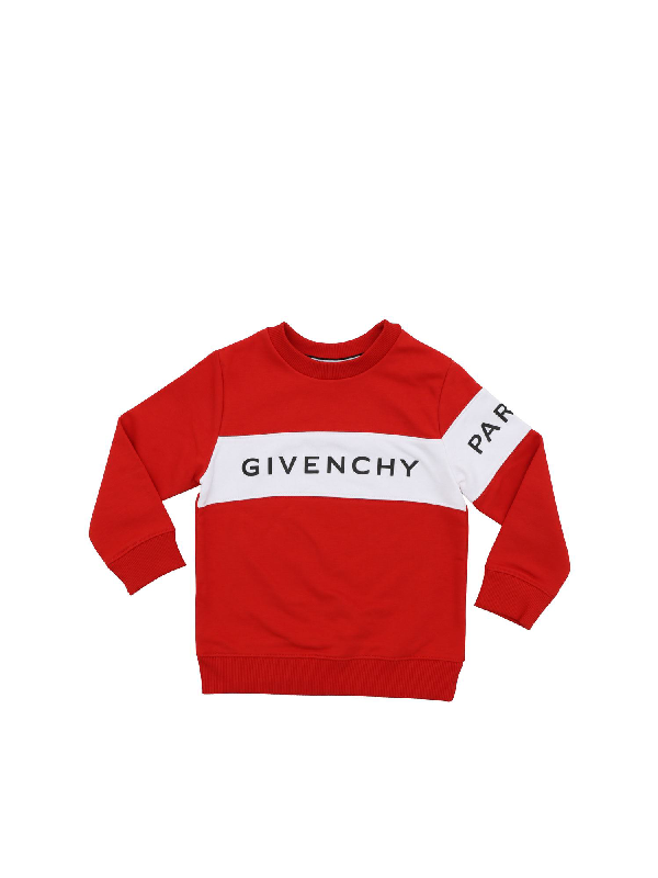 Givenchy Kids' Red Sweatshirt With White Band