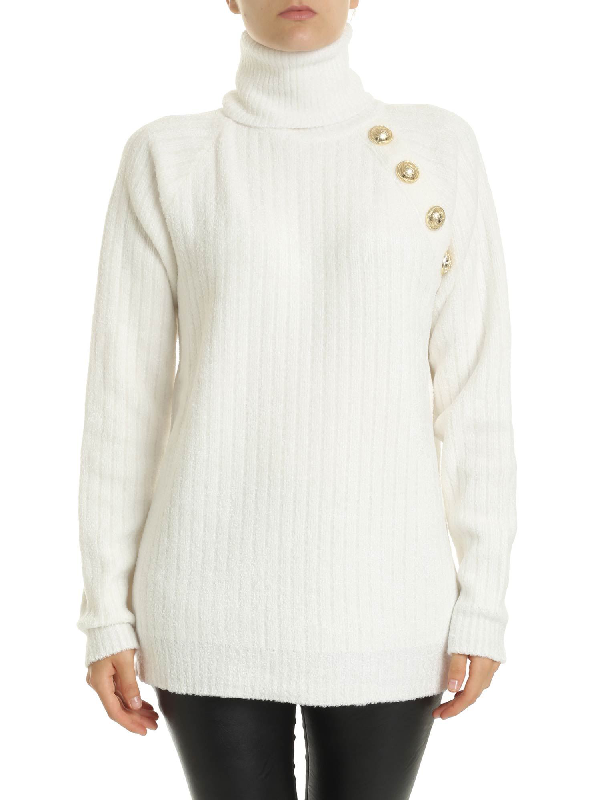 Balmain Cream-colored Turtleneck With Decorative Buttons In White