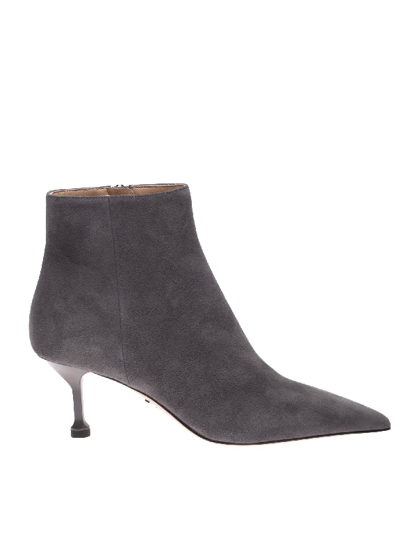 Prada Suede Heeled Ankle Boots In Gray