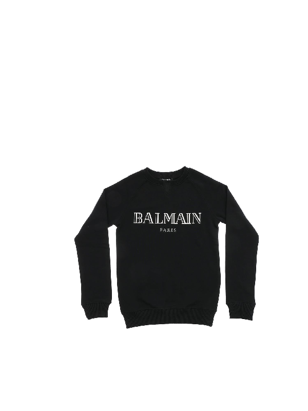Balmain Kids' Black Sweatshirt With Mirrored Effect Logo