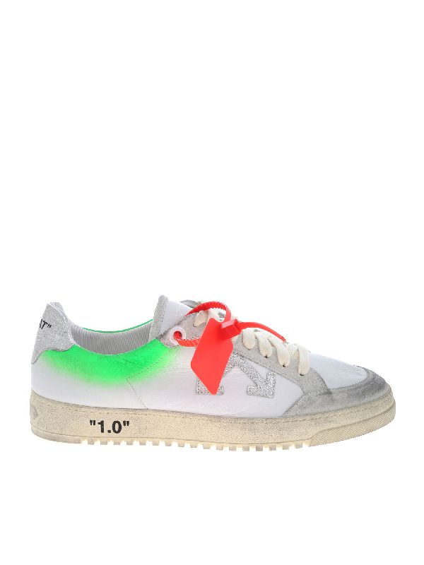 Off-white 2.0 Distressed Suede-trimmed Leather Sneakers In White & Green
