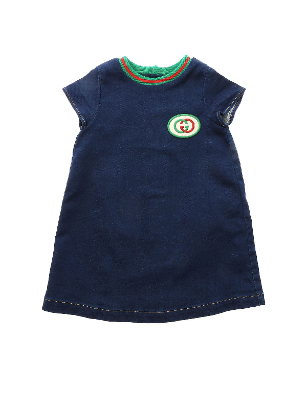 Gucci Babies' Short-sleeve Denim Dress W/ Interlocking G Patch In Blue