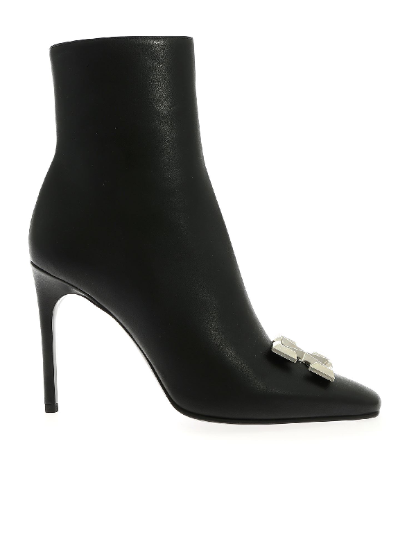 Off-white Arrow High Heels Ankle Boots In Black Leather