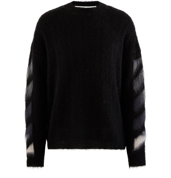 Off-white Brushed Mohair Crewneck Black Multicolor In Black/multi