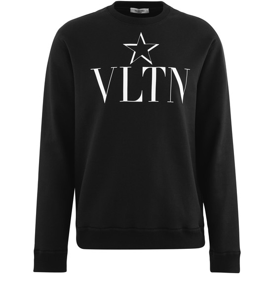 Valentino Slim-fit Logo-print Loopback Cotton-blend Jersey Sweatshirt In Black