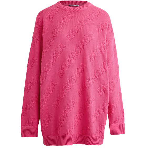 Balenciaga Allover Logo Long-sleeved Sweatshirt In Shocking Pink