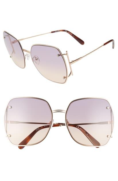 Salvatore Ferragamo Gancio 62mm Gradient Square Sunglasses In Rose Gold/ Violet Rose