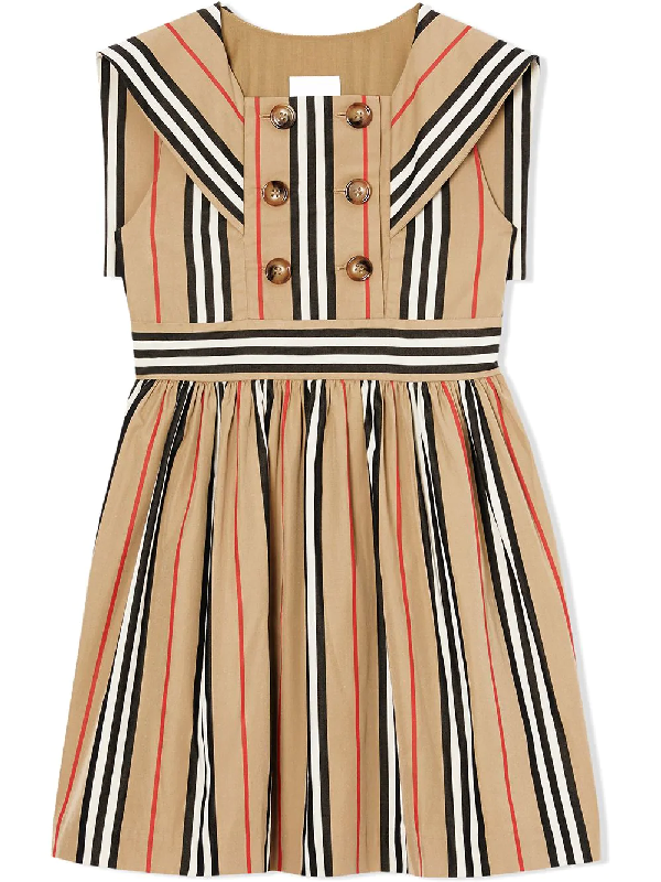 Burberry Teen Icon Stripe Cotton Poplin Sailor Dress In Neutrals