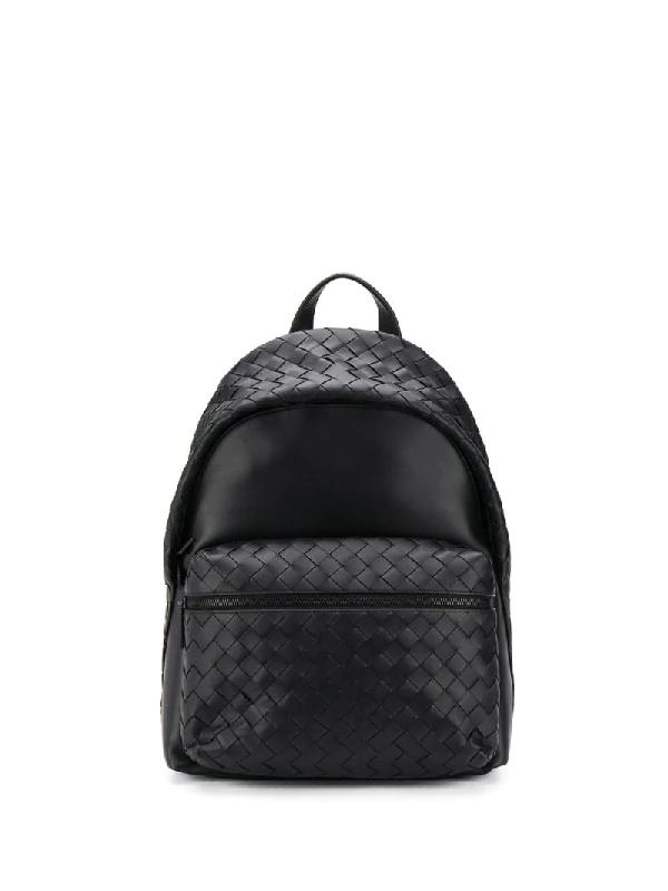 Bottega Veneta Intrecciato Leather Backpack In Black