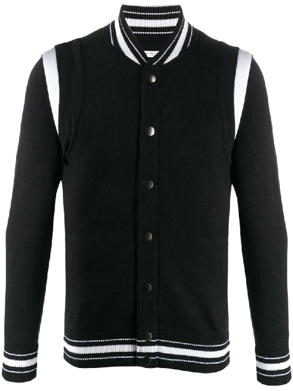 Givenchy Knitted Bomber Jacket With 4g Logo Embroidery In 001 Black
