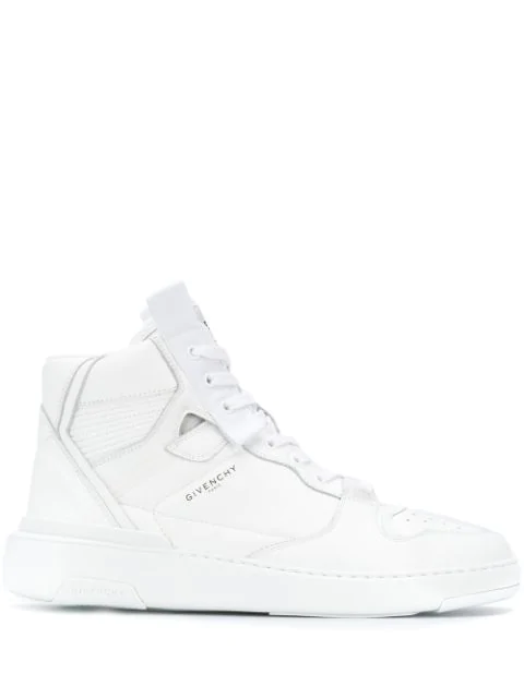 Givenchy Wing Grosgrain-trimmed Full-grain Leather High-top Sneakers In 100 Blanc