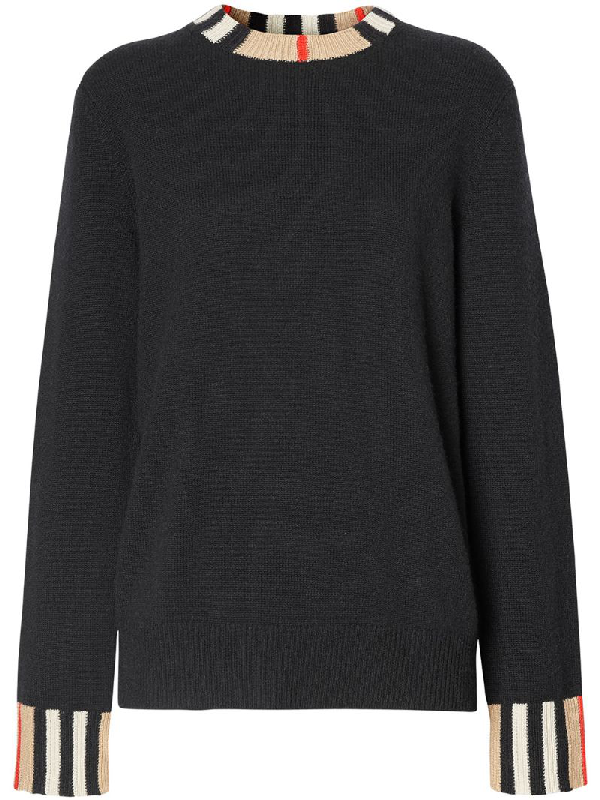 Burberry Eyre Vintage Stripe Cashmere Sweater In Black