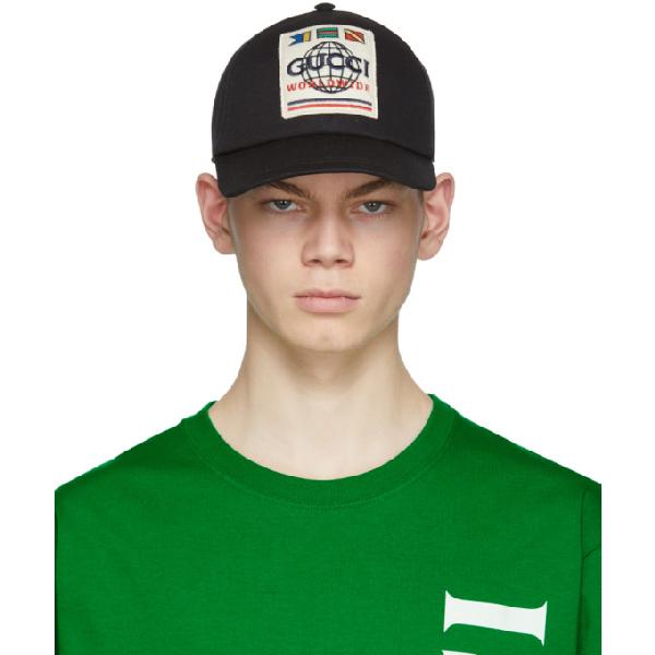 Gucci Logo-appliquéd Cotton-twill Baseball Cap In Black
