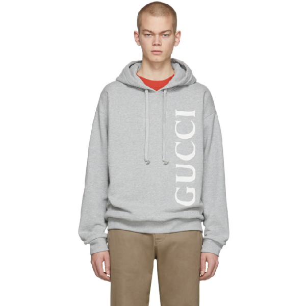 Gucci Logo-print MÉlange Loopback Cotton-jersey Hoodie In Grey