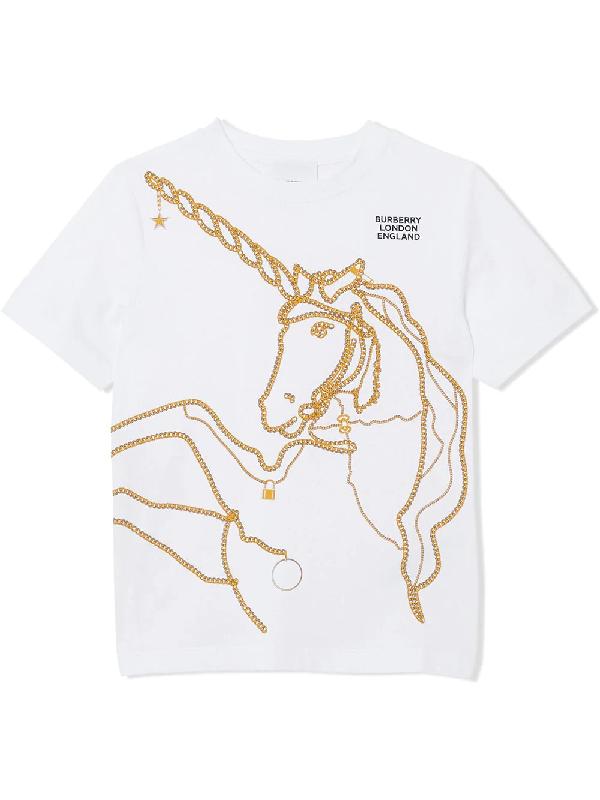 Burberry Girls' Chain Print Unicorn Tee - Little Kid Big Kid In White ,gold