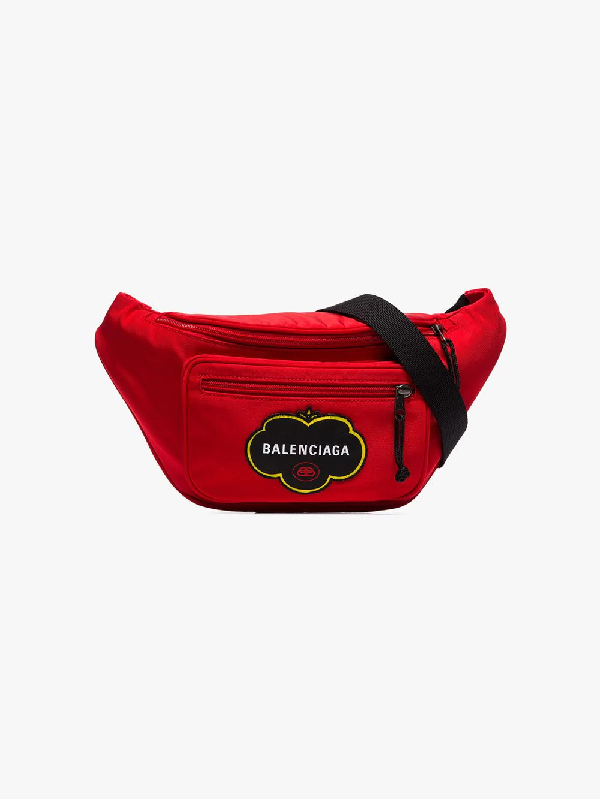 Balenciaga Explorer Logo-appliquÉ Canvas Belt Bag In Red
