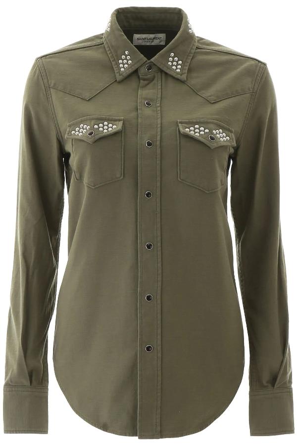 Saint Laurent Shirt With Studs In Khaki