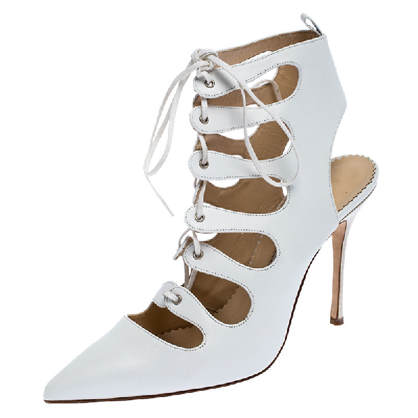 Manolo Blahnik White Leather Latta Cut Out Lace Up Pointed Toe Sandals Size 39
