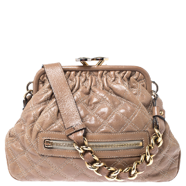 Marc Jacobs Beige Quilted Leather Little Stam Shoulder Bag