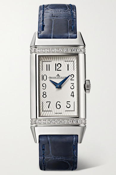 Jaeger-lecoultre Reverso One Duetto 20mm Stainless Steel, Diamond And Alligator Watch In Navy