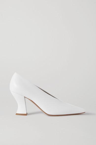 Bottega Veneta High-cut Spool-heel Leather Pumps In White