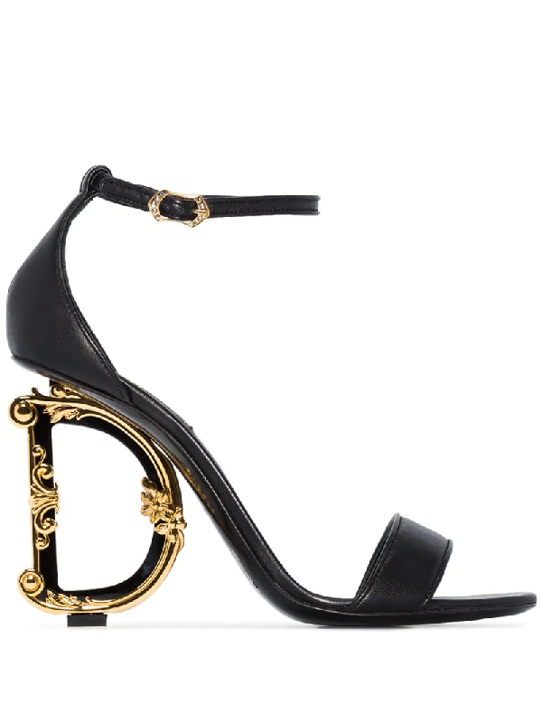 Dolce & Gabbana Polished Calfskin Sandals With Dg Baroque Heel In Black