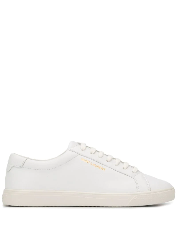 Saint Laurent Optic White Leather Andy Sneakers In 9030 White