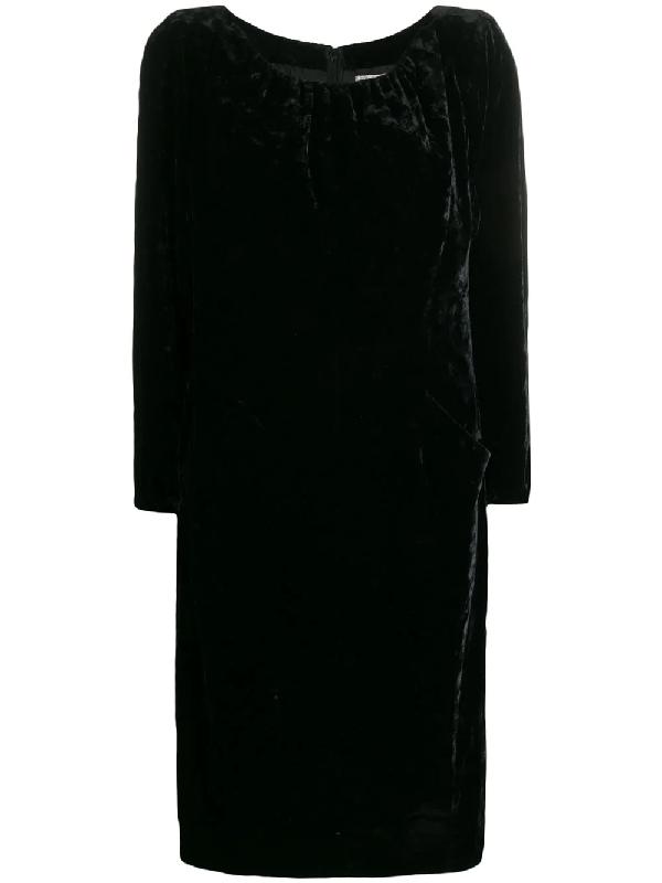 Saint Laurent 1990s Gathered Detail Velvet Dress In Black