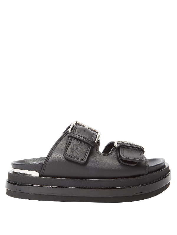 Alexander Mcqueen Buckled Patent-leather Trimmed Leather Platform Sandals In 黑色
