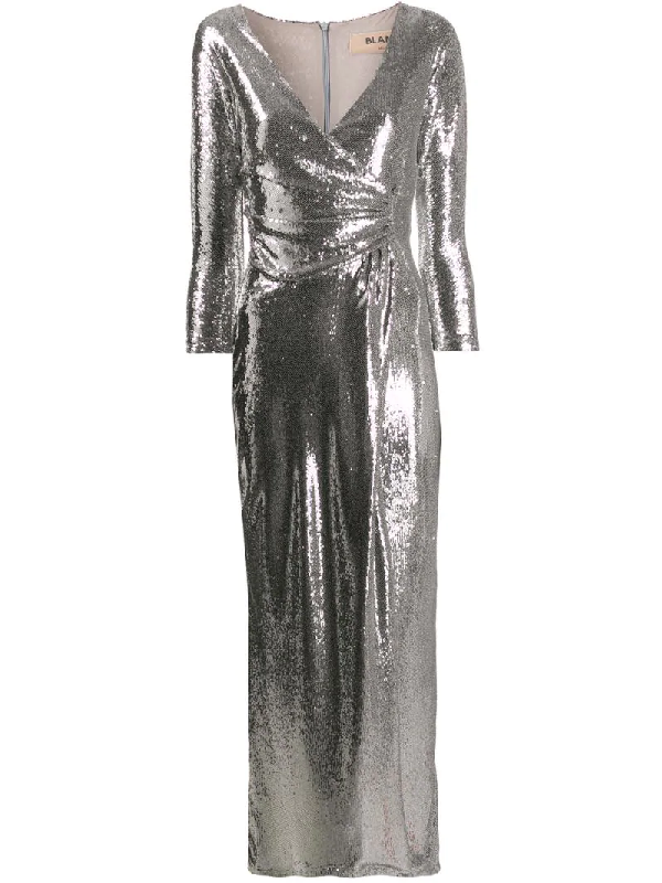 Blanca Sequin Wrap-style Dress In Silver