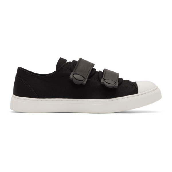 Regulation Yohji Yamamoto Black And White Strap Sneakers In 3 Blk/wht